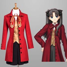 Hot sale ! Fate Stay Night Fate / Zero Tohsaka Rin Cosplay Costume Cosplay Dress free shipping