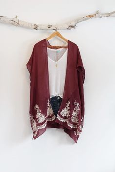 Bohemian kimono Cotton Burgundy and white by NORTHBOHEME