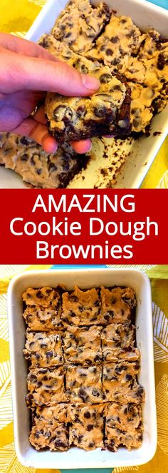 These cookie dough brownies are amazing! Edible cookie dough layer on top and perfect brownie layer on the bottom!  I just can't get enough of these!