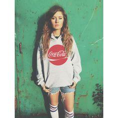 Vintage Style Coca Cola Hoodie Sweatshirt Unisex ($27) ❤ liked on Polyvore