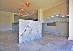 Stunning Granite on island creating a kitchen centrepiece Kitchen Centerpiece, Centerpieces, Cornforth White, Timber Kitchen, Back Painting, Farrow Ball, Tile Floor, Kitchen Design, Granite