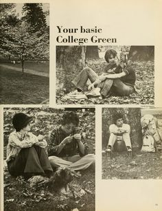 "Spectrum Green Yearbook, 1976. ""Your basic College Green."" Students relax on College Green during the fall. :: Ohio University Archives"