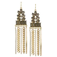 These statement stunners exude expensive elegance at a fraction of the cost. Faceted per and rectangular shaped smoke crystal rhinestones are offset by mixed chain fringe. Antiqued gold-tone plating