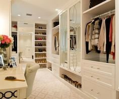 My master bedroom would have this gorgeous, gigantic walk in closet: one side for me and one side for him. I have SO many clothes and shoes that I think I'd take about 75% of space.