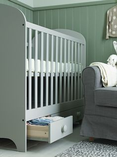 A cot that adapts will take you safely through the different stages of babyhood and beyond. First position the base up high making it easy for you to reach your baby. When they can sit up, move the base down. Later, remove one of the sides so your child can get in and out without climbing over the bars.  Experts advise against cuddly toys and loose covers in a cot. A well-ventilated mattress topped off with a washable mattress pad, fitted sheet and a baby sleeping bag is best.