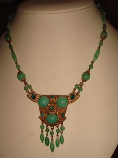 VTG. ART DECO CZECH JADE PEKING GLASS & RHINESTONE LAVALIER DANGLE NECKLACE