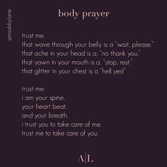 """The Body is Not an Apology on Instagram: """"Body wisdom ✨ Thank you for the tag, @msabbylane!! . . [image description: poem by Abby Lane titled """"body prayer"""" in a light subtle pink…"""""""