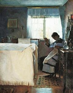 Peter Vilhelm Ilsted (Danish painter, 1861-1933) Woman Sewing by the Window 1886