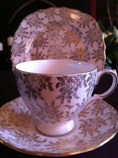 ROYAL VALE Vintage English China Gold Chintz Flowers DECO TEA TRIO SET | eBay