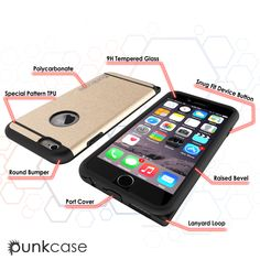 iPhone 6s/6 Case PunkCase Galactic Gold Series Slim Protective Armor Soft Cover Case w/ Tempered Glass Protector Lifetime Warranty