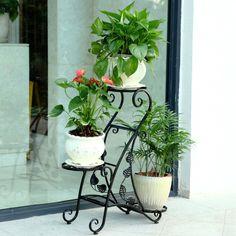 Wrought iron balcony flower flower multilayer wood floor living room flower pots