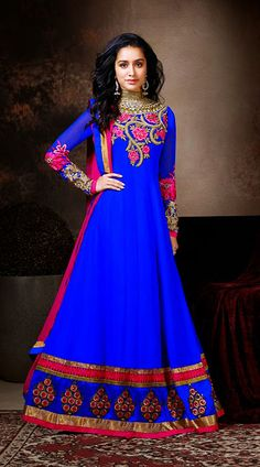 Shraddha Kapoor In Blue Floor Length Anarkali Suit BR112044