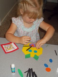 Making animal faced using shapes. Awesome shape learning lesson. Chipman's Corner Preschool