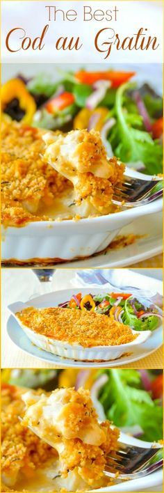 The best recipe for Cod au Gratin you will find. A real Newfoundland favourite dish. Some may balk at the suggestion of fish(Fish Recipes) Best Cod Recipes, Cod Fish Recipes, Rock Recipes, Popular Recipes, Seafood Recipes, Cooking Recipes, White Fish Recipes, Baked Cod Recipes, Salmon Recipes
