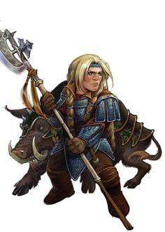 Female dwarf adventurer with a pet battle boar!