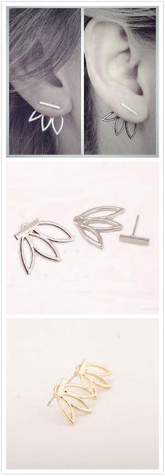 2016 New Gold Lotus Flower Double Side Stud Earrings For Women Casual Bijoux…
