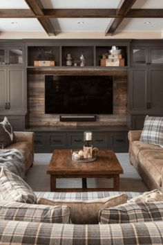 Need basement design ideas? We have loads of them featuring all kinds of rooms, colors, materials and layouts. Check out this epic basement design gallery for your basement reno project. Basement Living Rooms, Cozy Basement, Modern Basement, Basement Finishing, Basement Walls, Modern Tv Room, Cool Basement Ideas, Rustic Basement, Living Tv