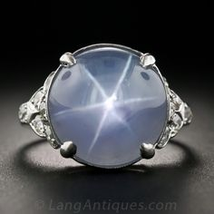 Art Deco Star Sapphire Platinum and Diamond Ring from Lang Antiques.