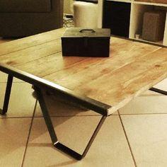 Table #palettesncf  #metalbrut #decoindustrielle #diy #piedsdetable #tablebasse
