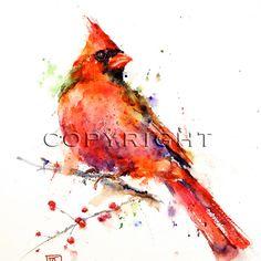 CARDINAL Watercolor Bird Print by Dean Crouser