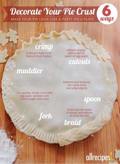 Six ways to make grandma proud of your pies. decorate your pie crust, pie crust variations, food tips