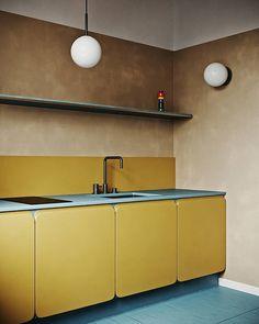 unordinary kitchen colors design ideas that looks cool 3 Home Design, Küchen Design, Interior Design Kitchen, Layout Design, Interior And Exterior, Design Trends, Design Ideas, Interior Logo, Interior Colors