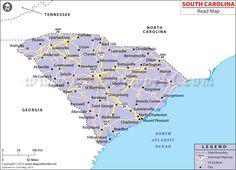 South Carolina Road Map