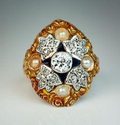 Antique Art Nouveau Diamond, Pearl, Enamel Ring