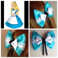 Handmade Hair Bow. Alice in Wonderland. by HairBowObsessions