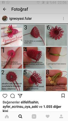 This post was discovered by Se Needle Tatting Patterns, Embroidery Flowers Pattern, Ribbon Embroidery, Flower Patterns, Embroidery Stitches, Beaded Flowers, Crochet Flowers, Beaded Banners, Popular Crochet