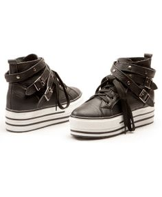 Black Platform Lace Up Shoes with Wrapped Pin Buckle Studded Belt Free Global Delivery - Find Latest Fashions Clothing Labels Black Platform, Platform Sneakers, Cute Sneakers, High Top Sneakers, Crazy Shoes, Me Too Shoes, Shoe Sites, Studded Belt, Everyday Shoes