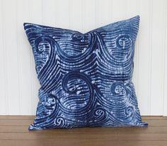 "Batik Pillow Cover- 16""x16"" Indigo Pillow with Batik Wave Design, One of a Kind"
