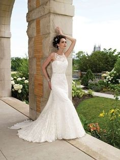 A-Line High Neck Long Lace Wedding Dress. Beautiful and inexpensive