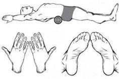 Dr. Fukutsudzi rájött arra, hogy a medence és a bordák alatti csontok diszharmóniája miatt alakul ki a hasi- és derékrészre a zsírpárna. Módszer: egy törülközött jó szorosan fel kell tekerni, majd egy szalaggal át kell kötni, hogy rögzüljön. feküdjünk hanyatt, rakjuk a derekunk alá a törölközőt, és vegyük fel az ábrán látható testpozíciót. A tenyerünket feszítsünk neki a padlónak, a lábfejeket pedig szorítsuk le.- naponta háromszor  5 perc