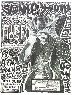Sonic Youth gig poster 1986 | with Firehose featuring Mike Watt and George Hurley of Minutemen.