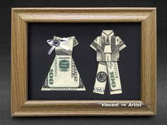 Beautiful BRIDE  GROOM Money Gift  Made with three $100 bills  Maybe not $100's haha