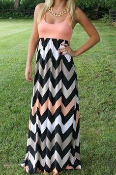 Zigzag Print Color Block Maxi Dress