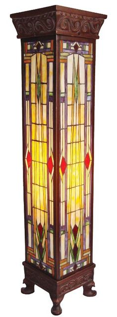Art Deco stained glass torchiere