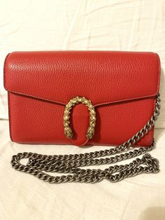 4d75245c9ed8  FORSALE Authentic Gucci Dionysus mini leather chain Red Handbag -  265