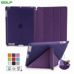 Case Covers For Ipad 2 3 4 Golp Utra Slim Pu Leather Multi-Folding Magentic Cover Translucent Tpu Back Case For Ipad 2 3 4