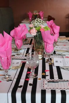 Gorgeous table at a Kate Spade bridal shower party! See more party ideas at CatchMyParty.com!