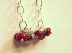 Diamond and Ruby Dangle Earrings by Created2Inspire on Etsy, $55.00
