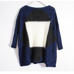 Stylish Blue Black And White Square Pattern Sweater - Sweaters - Sweaters & Knits - Clothing - Women's Style Free Shipping