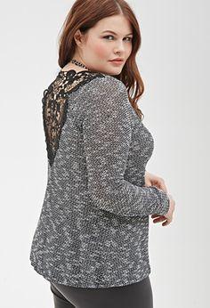 Crochet-Paneled Sweater   Forever 21 PLUS - 2000117277