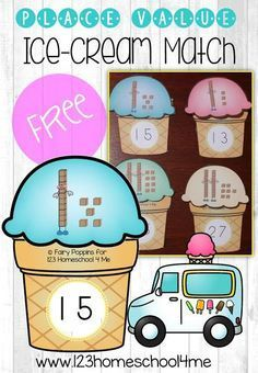 FREE Place Value Ice Cream Match - this is such a fun way for kindergarten, first grade, and second grade kids to practice counting tens and ones! This math games is perfect for developing number sense. Math Games For Kids, Educational Activities For Kids, Math Activities, Place Value Activities, Learning Games, Base Ten Activities, Homework Games, Summer Activities, Educational Toys