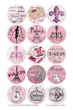 Pink Paris Bottlecap Images / French Poodle, Eiffel Tower, Vintage Postcard Digital Collage / Printable 1 Inch Circles For Bottle Caps. Bottle Cap Art, Bottle Cap Crafts, Bottle Cap Images, Thema Paris, Pink Paris, Shabby Chic, French Poodles, Paris Images, Thinking Day