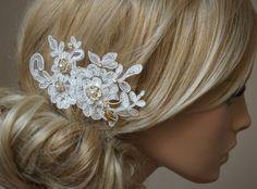 """Haarschmuck & Kopfputz - Braut Spitzen Haarschmuck """"Hanna"""" Haarkamm ivory - ein Designerstück von Elizabethmode bei DaWanda"""
