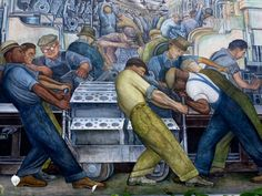 Diego Rivera Mural (Panel) -1932.  Depicting workers at the infamous at the Ford Motor Company's River Rouge plant