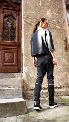 New NEOPRENE Black Drop Crotch Harem Zipper Pants /
