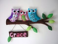 owls  on Branch  FELT